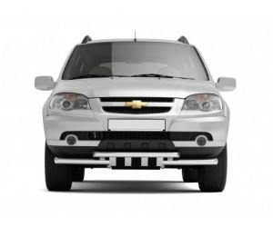 Декоративная защита картера двойная с зубьями Ø63/63мм Chevrolet Niva FL (нерж)