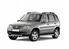 Защита порогов с алюм.фигурной накладкой Ø63мм Chevrolet Niva FL (нерж)