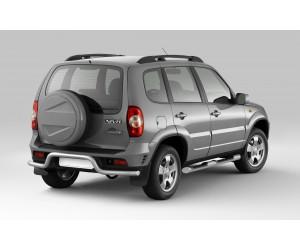Защита порогов с накладками Ø76мм Chevrolet Niva FL (ППК)