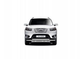 Защита переднего бампера двойная Ø51/63мм Hyundai Santa Fe (нерж) 2013
