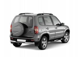 Защита заднего бампера с накладкой Ø63мм Chevrolet Niva FL (нерж)