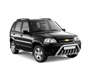Защита порогов с накладками Ø63мм Chevrolet Niva FL (нерж)