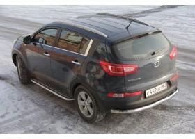 Защита порогов с алюминиевой накладкой Ø51мм Kia Sportage