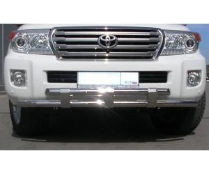 Защита переднего бампера двойная с пластинами Ø63/63мм Toyota Land Cruiser 200 (нерж) 2010