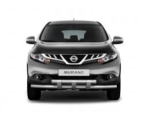 Защита переднего бампера двойная с пластинами Ø63мм Nissan Murano (нерж)