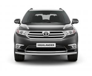 Защита переднего бампера одинарная Ø63мм Toyota Highlander (нерж)