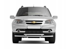 Декоративная защита картера двойная Ø51/63мм Chevrolet Niva FL (нерж)