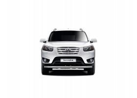 Защита переднего бампера одинарная Ø63мм Hyundai Santa Fe (нерж) 2013