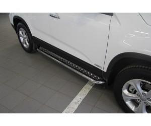 Защита порогов с алюминиевой накладкой Ø51мм Kia Sorento New (нерж)