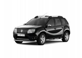 Защита порогов с накладками Ø63мм Renault Duster (нерж)