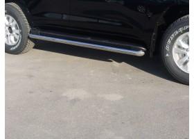 Защита порогов Ø63мм Toyota Land Cruiser 200 (нерж)