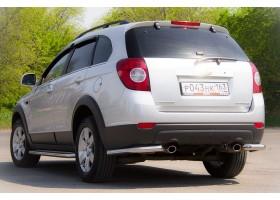 Защита заднего бампера угловая Ø63мм Chevrolet Captiva FL (нерж)