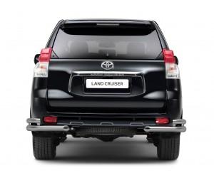 Защита заднего бампера угловая двойная Ø63/76мм Toyota Land Cruiser Prado 150 (нерж)