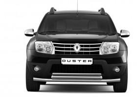Защита переднего бампера двойная Ø51/63мм Renault DUSTER (покр)