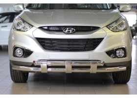 Защита переднего бампера двойная с пластинами Ø63/63мм Hyundai IX35 (нерж)