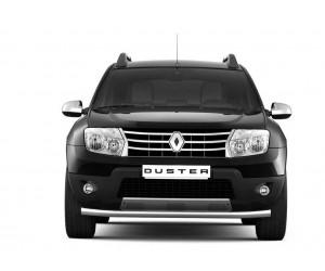 Защита переднего бампера одинарная Ø63мм Renault DUSTER (покр)