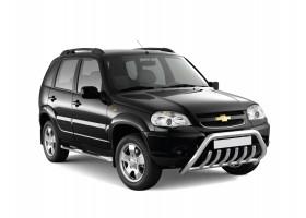 """Защита переднего бампера с защитой картера """"Люкс"""" Ø63-51мм Chevrolet Niva FL (нерж)"""