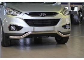 Защита переднего бампера фигурная Ø63мм Hyundai IX35 (нерж)