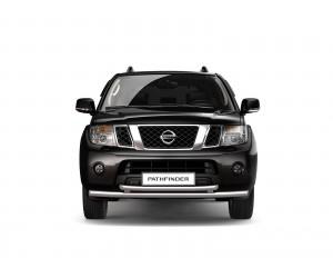Защита переднего бампера двойная Ø63мм Nissan Pathfinder (нерж)