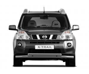 Защита переднего бампера двойная Ø63мм Nissan X-Trail (нерж)