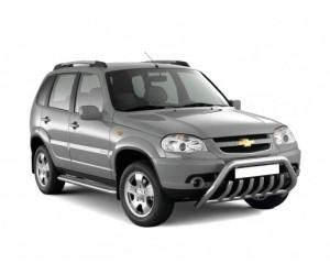 Защита порогов с алюм. площадкой Ø51мм Chevrolet Niva FL (ППК)