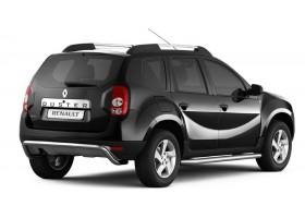 Защита порогов с алюминиевой накладкой Ø51мм Renault DUSTER (покр)