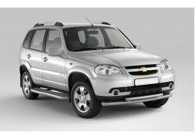 Защита порогов с алюм.фигурной накладкой Ø63мм Chevrolet Niva FL (ППК)
