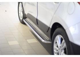 Защита порогов с алюм. накладкой Ø51мм Hyundai IX35 (нерж)