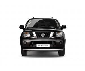 Защита переднего бампера одинарная Ø63мм Nissan Pathfinder (нерж)