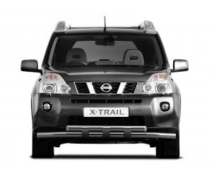 Защита переднего бампера двойная с пластинами Ø63мм Nissan X-Trail (нерж)