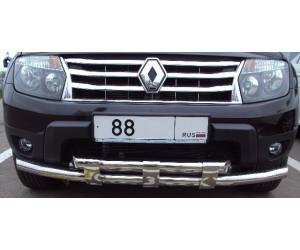 Защита переднего бампера двойная с пластинами Ø63/63мм Renault Duster (нерж)