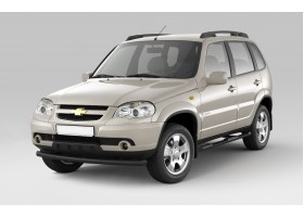 Защита порогов с накладками Ø63мм Chevrolet Niva FL (ППК)
