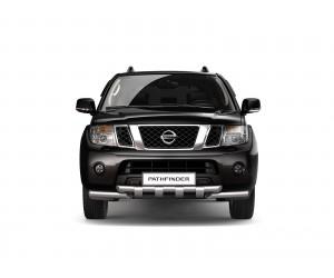 Защита переднего бампера с зубьями Ø63мм Nissan Pathfinder (нерж)