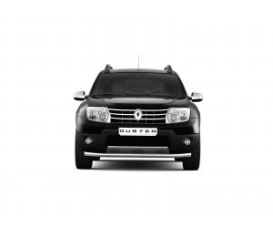 Защита переднего бампера одинарная Ø63мм Renault Duster (нерж)