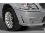 Накладки на передний бампер (Нерж) Renault Logan YT-1