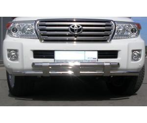 Защита переднего бампера двойная с пластинами Ø63/63мм Toyota Land Cruiser 200 (нерж) (2012 - )